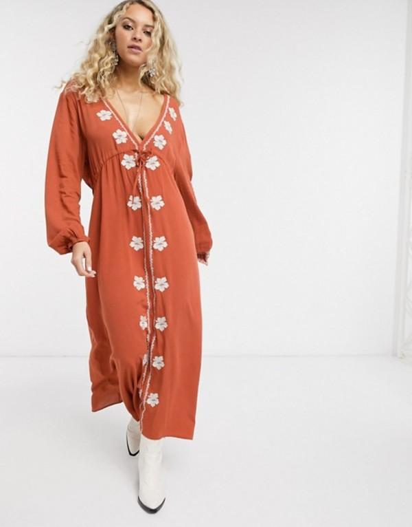 エンクリーム レディース ワンピース トップス En Creme midi dress with plunge front and embroidered detail Rust