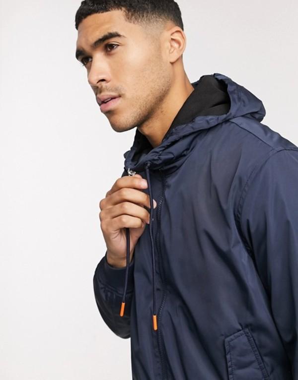 エスプリ メンズ ジャケット・ブルゾン アウター Esprit windbreaker jacket with hood in navy Blue