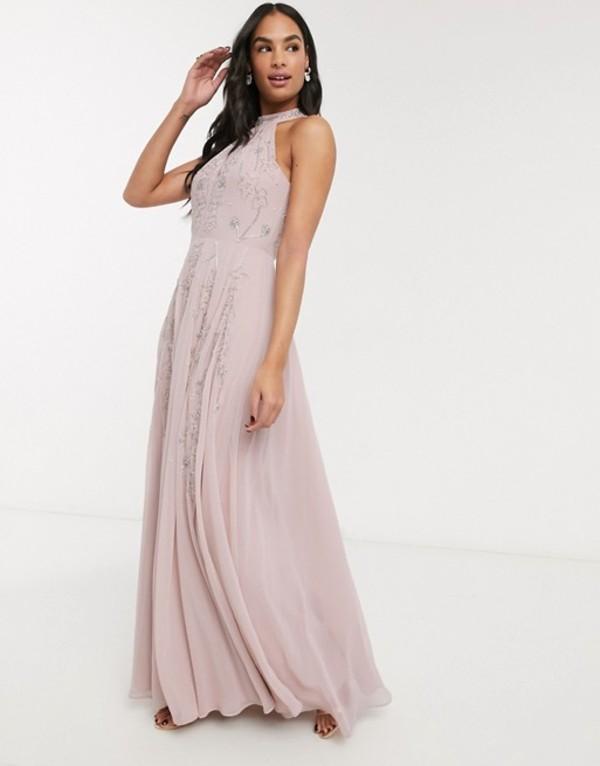 エイソス レディース ワンピース トップス ASOS DESIGN halter maxi skater dress in embellishment with godets Soft pink