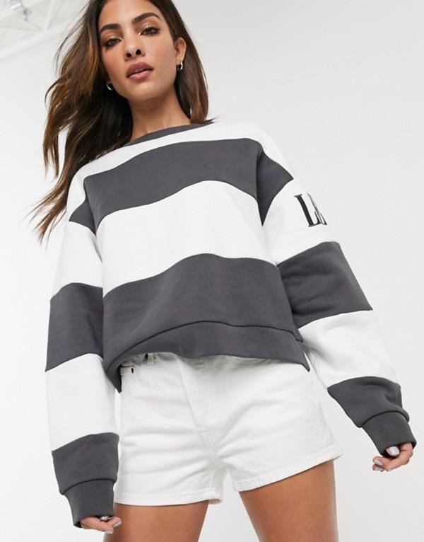 リーバイス レディース シャツ トップス Levi's Diana graphic sweatshirt in stripe Haley forged iron/wh