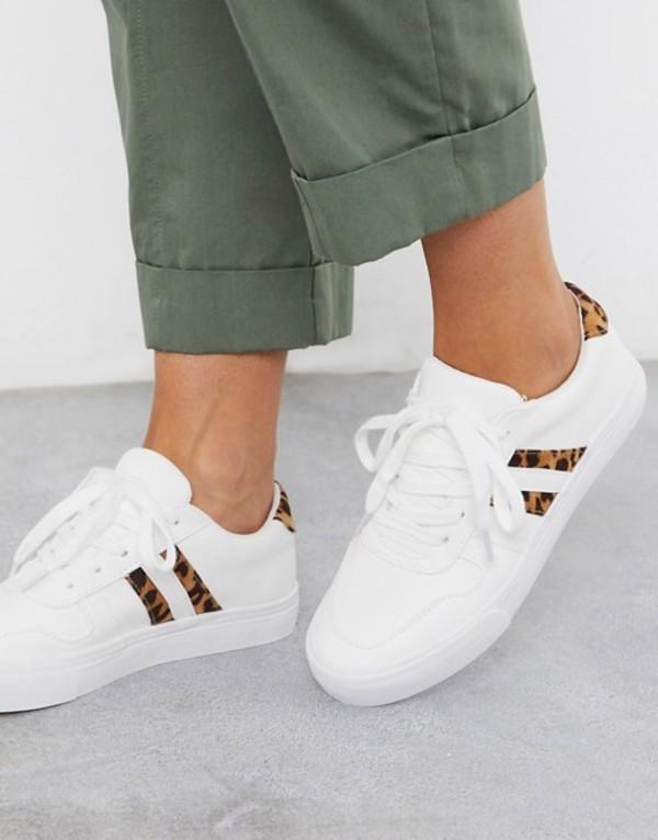 ロンドンレベル レディース スニーカー シューズ London Rebel side stripe lace up sneakers in white with leopard White/cheetah