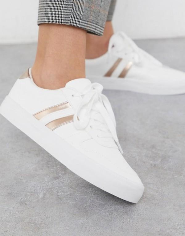 ロンドンレベル レディース スニーカー シューズ London Rebel side stripe lace up sneakers in white with rose gold White/rose gold