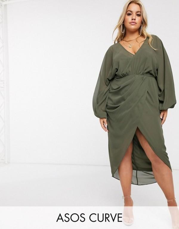 エイソス レディース ワンピース トップス ASOS DESIGN Curve plunge front blouson sleeve midi dress Khaki