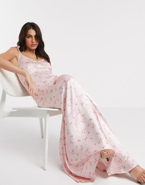 ゴースト レディース ワンピース トップス Ghost Bridesmaid dahlia floral printed satin maxi dress with frill shoulder in dakotha ditsy Dakotha ditsy