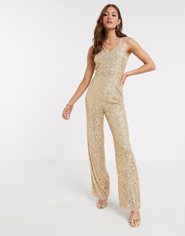 ティエフエヌシー レディース ワンピース トップス TFNC sequin jumpsuit in gold Gold