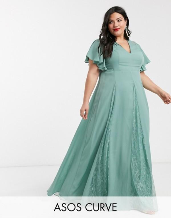 エイソス レディース ワンピース トップス ASOS DESIGN Curve maxi dress with lace godet inserts Sage