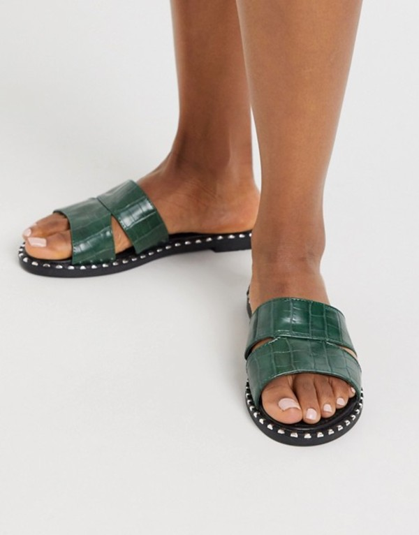 ロンドンレベル レディース サンダル シューズ London Rebel flat studded mule sandals in green croc Green croc