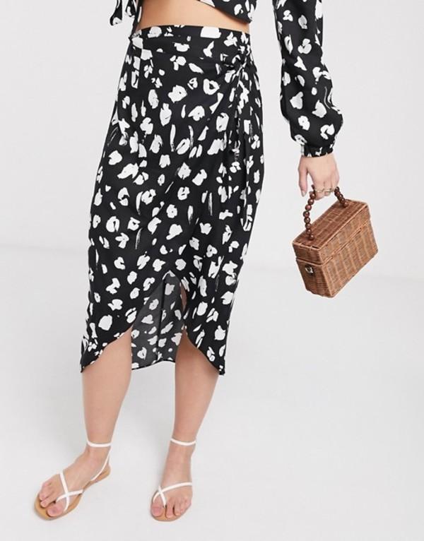 エイソス レディース スカート ボトムス ASOS DESIGN wrap midi skirt in black mono leopard print two-piece Black mono leopard