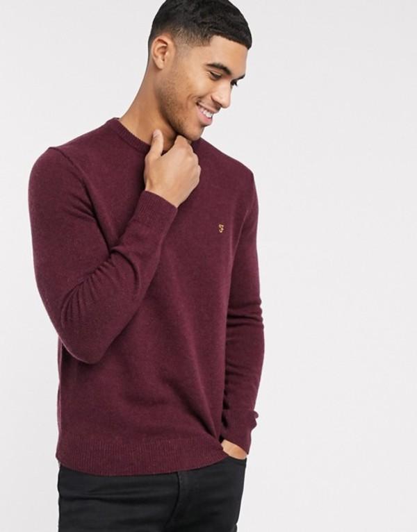 ファーラー メンズ ニット・セーター アウター Farah Rosecroft crew neck sweater Red