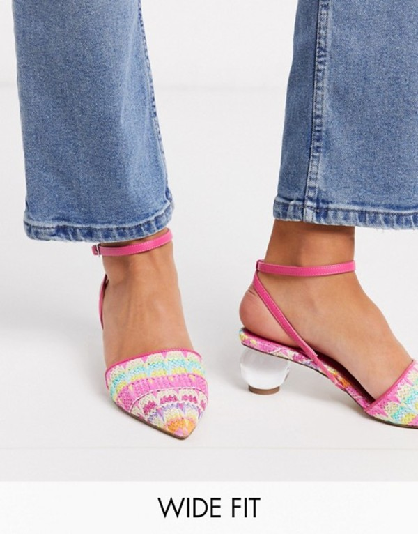 エイソス レディース ヒール シューズ ASOS DESIGN Wide Fit Writer ball heels in multi weave Multi weave