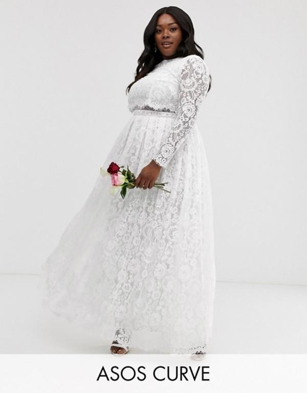 エイソス レディース ワンピース トップス ASOS EDITION Curve lace long sleeve crop top maxi wedding dress White