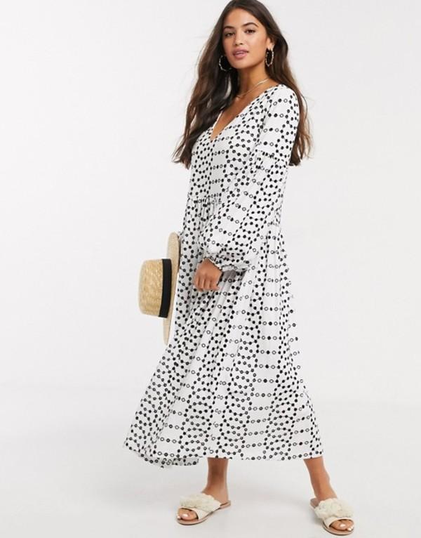 エイソス レディース ワンピース トップス ASOS DESIGN contrast stitch broderie smock midi dress in black and white Black white