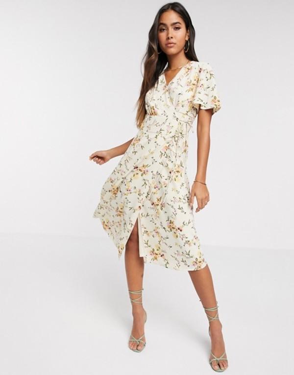 ヴェロモーダ レディース ワンピース トップス Vero Moda wrap midi dress in cream floral Multi