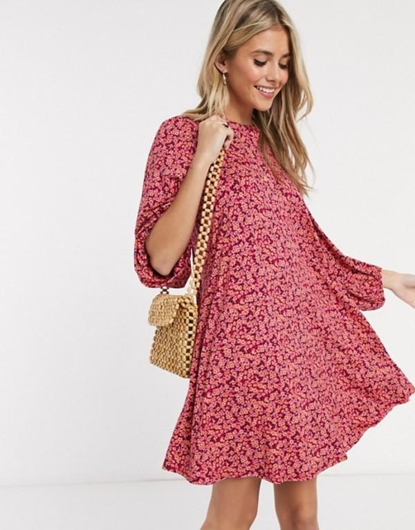 エイソス レディース ワンピース トップス ASOS DESIGN mini dress with volume sleeve in floral print in pink Pink floral