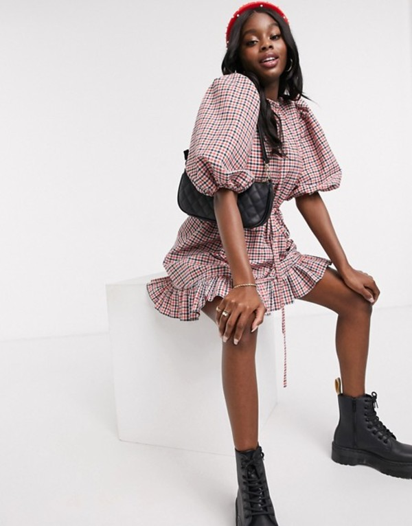エイソス レディース ワンピース トップス ASOS DESIGN high neck mini smock dress with drawstring waist in gingham Gingham