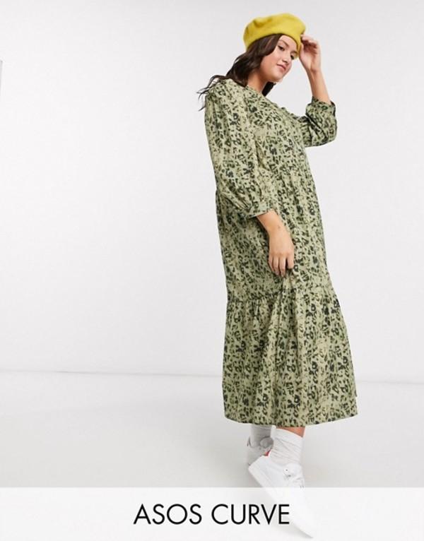 エイソス レディース ワンピース トップス ASOS DESIGN Curve tiered maxi dress in khaki leopard print Khaki leopard