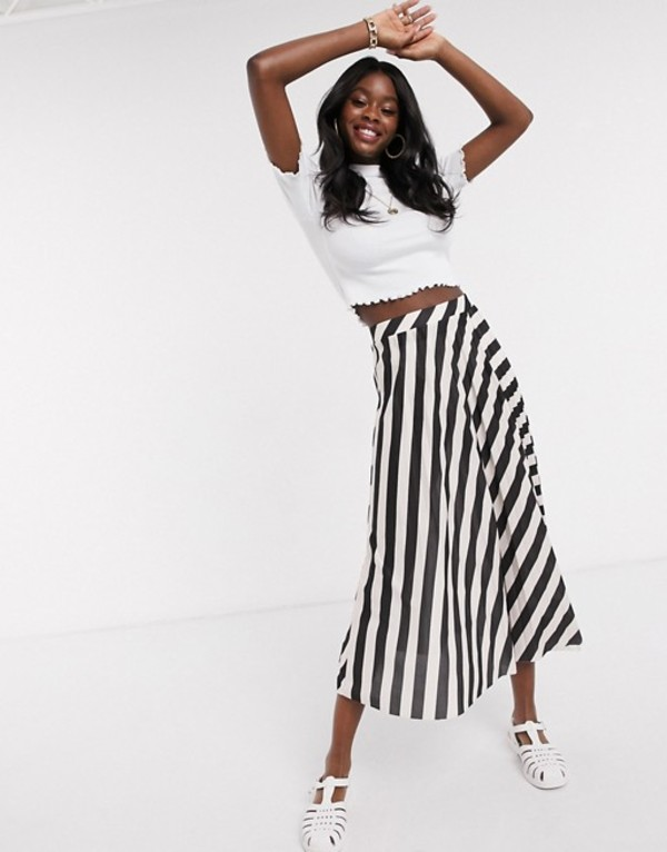 エイソス レディース スカート ボトムス ASOS DESIGN pleated midi skirt in mono stripe print Mono stripe