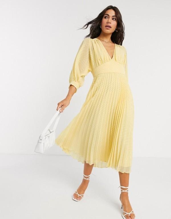 エイソス レディース ワンピース トップス ASOS DESIGN pleated batwing midi dress in chevron dobby in yellow Lemon yellow