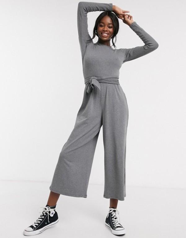 エイソス レディース ワンピース トップス ASOS DESIGN soft rib lounge jumpsuit with tie belt detail Gray