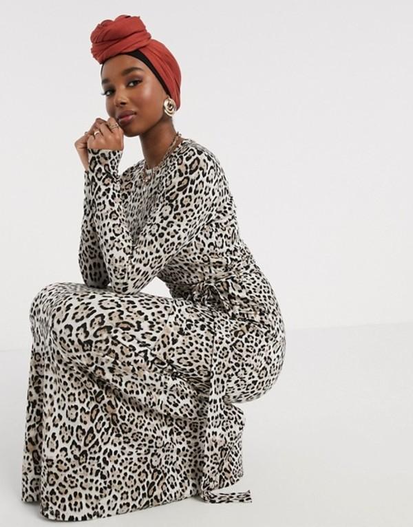 エイソス レディース ワンピース トップス ASOS DESIGN maxi dress with long sleeves in leopard print Animal print