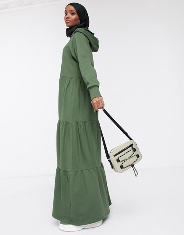 エイソス レディース ワンピース トップス ASOS DESIGN maxi hoodie sweat dress with tiered skirt Khaki