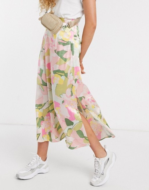 セレクティッド レディース スカート ボトムス Selected Femme midi skirt with side split in waterlily floral print Rosebloom