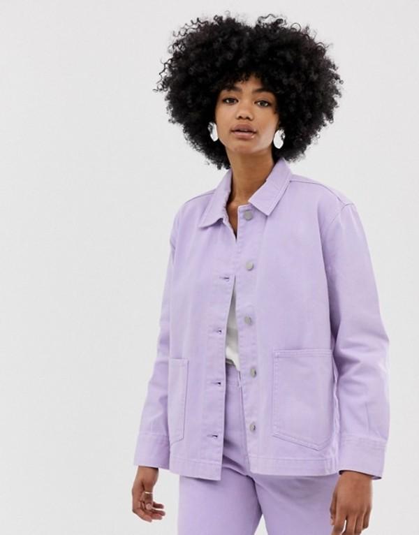 ウィークデイ レディース ジャケット・ブルゾン アウター Weekday worker denim jacket in lilac Lilac