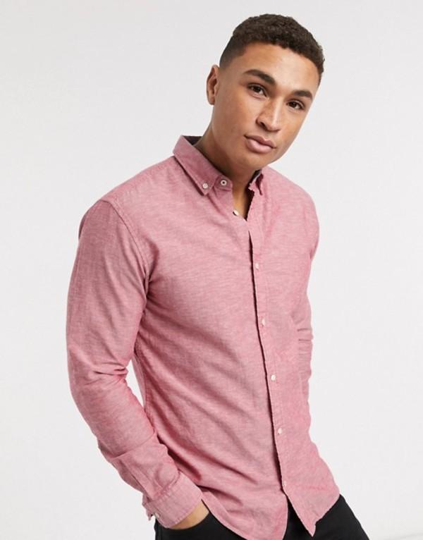 ジャック アンド ジョーンズ メンズ シャツ トップス Jack & Jones Essentials slim fit linen mix shirt in pink Rio red