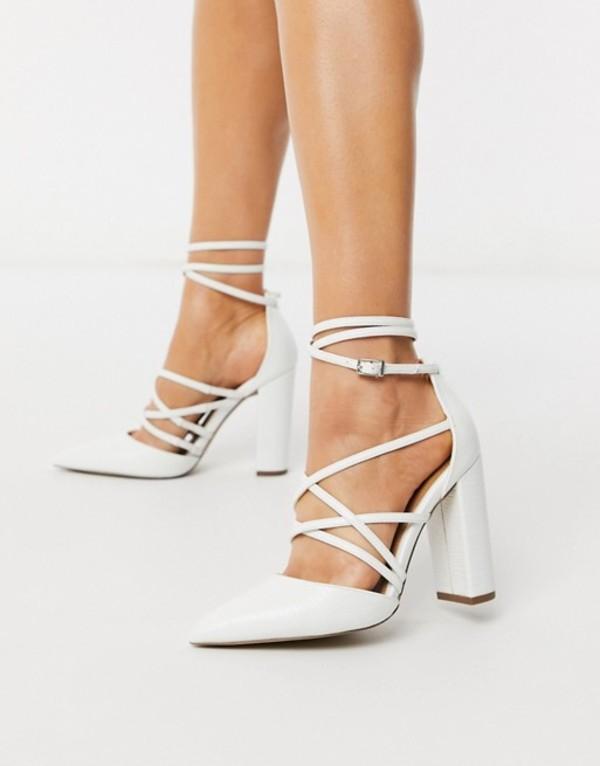 エイソス レディース ヒール シューズ ASOS DESIGN Pick Me Up high block heels in white White lizard