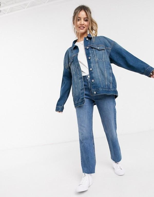 エイソス レディース ジャケット・ブルゾン アウター ASOS DESIGN denim oversized jacket in mid wash blue Blue