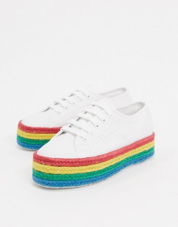 スペルガ レディース スニーカー シューズ Superga 2790 rainbow espadrille flatform sneakers in white Rainbow