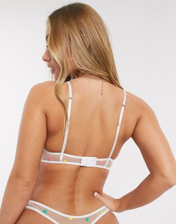 エイソス レディース ブラジャー アンダーウェア ASOS DESIGN Mya spot embroidery mesh soft triangle bra White multiD9I2EH