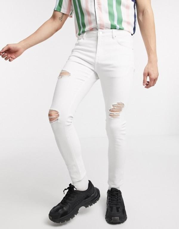 エイソス メンズ デニムパンツ ボトムス ASOS DESIGN spray on jeans with power stretch in white with heavy rips White