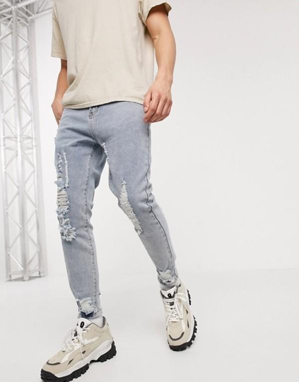 リキュールアンドポーカー メンズ デニムパンツ ボトムス Liqour N Poker slim fit jeans with knee abrasions in light blue wash Blue