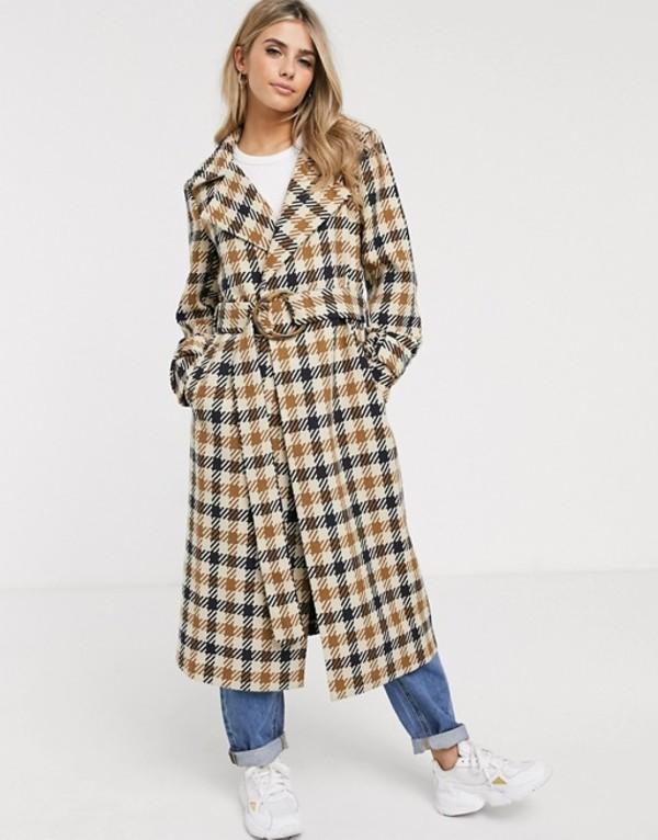 エイソス レディース コート アウター ASOS DESIGN check belted coat Multi