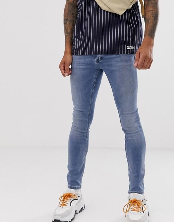 トップマン メンズ デニムパンツ ボトムス Topman spray on jeans in light blue wash Light blue