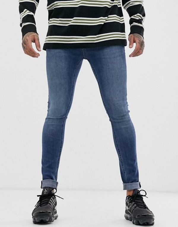 トップマン メンズ デニムパンツ ボトムス Topman spray on jeans in blue wash Blue