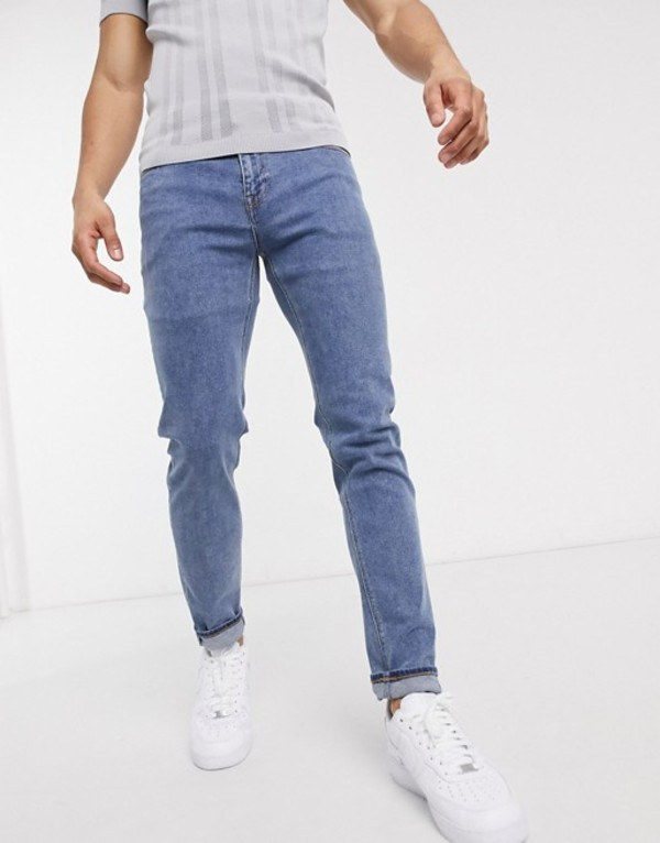 エイソス メンズ デニムパンツ ボトムス ASOS DESIGN skinny jeans in mid wash blue Mid wash blue