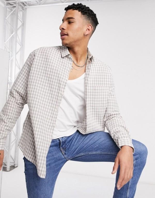 エイソス メンズ シャツ トップス ASOS DESIGN linen 90s oversized shirt in beige gingham check Beige