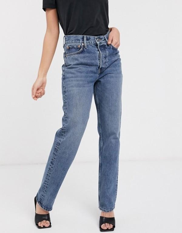 トップショップ レディース デニムパンツ ボトムス Topshop dad jeans in mid wash Blue