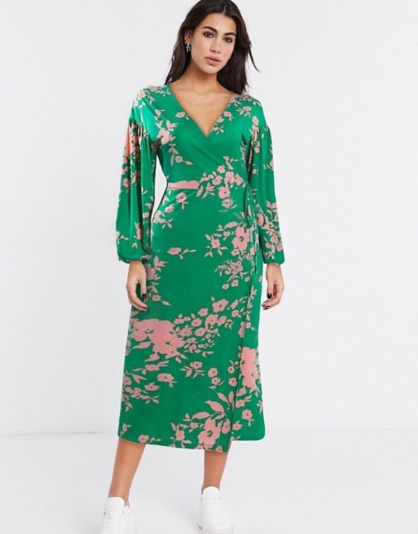 エイソス レディース ワンピース トップス ASOS DESIGN wrap midi tea dress with bright floral Floral print