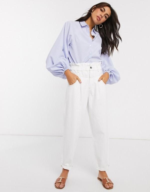 エイソス レディース シャツ トップス ASOS DESIGN volume sleeve cotton shirt in stripe print Multi