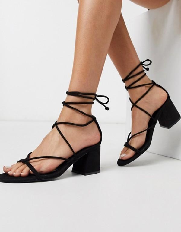 heels Black プルアンドベアー sandals シューズ in mid strappy Pull&Bear black サンダル レディース