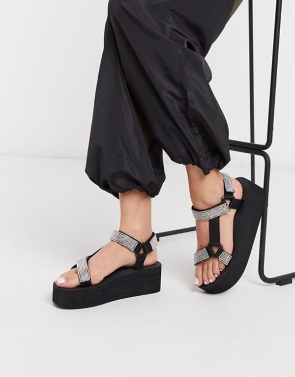 トリュフコレクション レディース サンダル シューズ Truffle Collection embellished sporty flatform sandals in black irredescent Black/irredescent