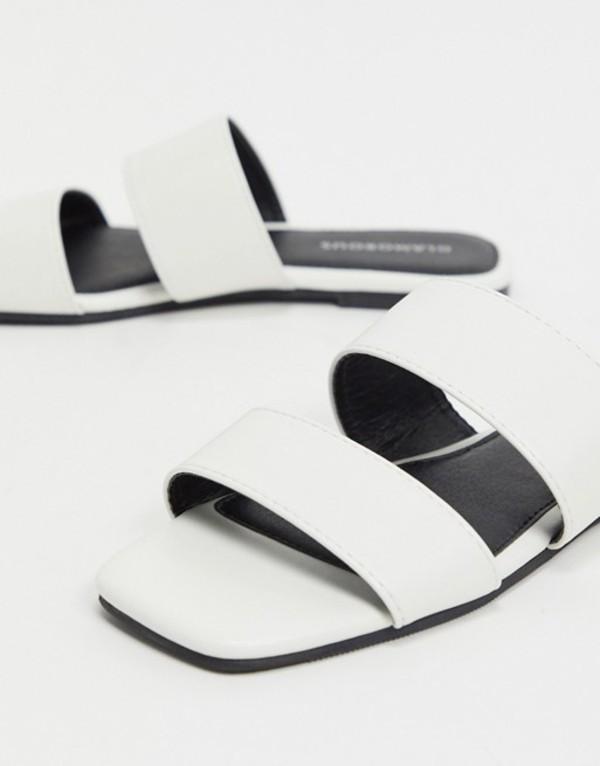 グラマラス レディース サンダル シューズ Glamourous flat sandal in white White pu