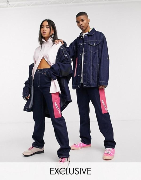 コルージョン レディース デニムパンツ ボトムス COLLUSION x000 Unisex 90's straight leg jeans in midwash blue with paint print Blue