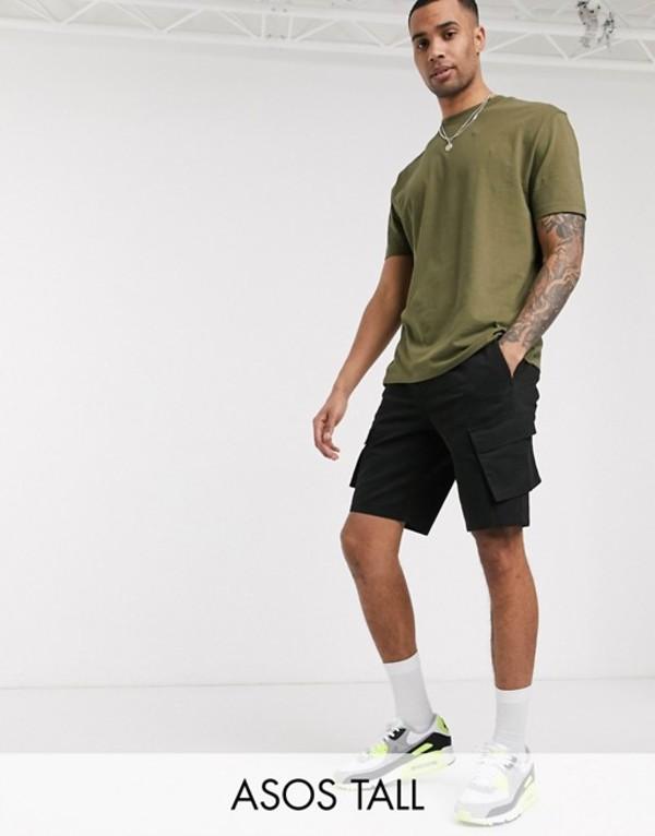 エイソス メンズ ハーフパンツ・ショーツ ボトムス ASOS DESIGN tall slim cargo shorts in black Black
