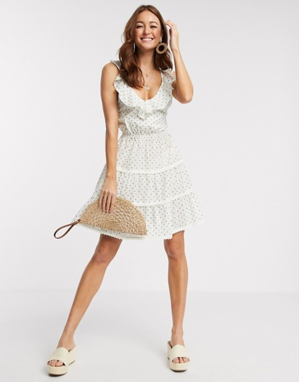 エイソス レディース ワンピース トップス ASOS DESIGN dobby tiered mini skater sundress with lace up back in polka dot Green/white spot