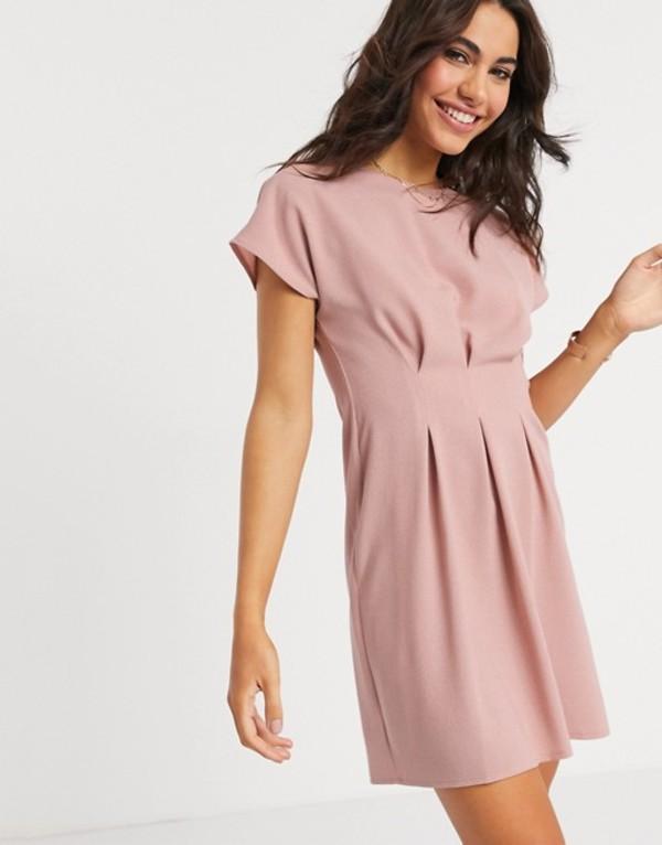 エイソス レディース ワンピース トップス ASOS DESIGN nipped in waist mini dress in pink Rose pink
