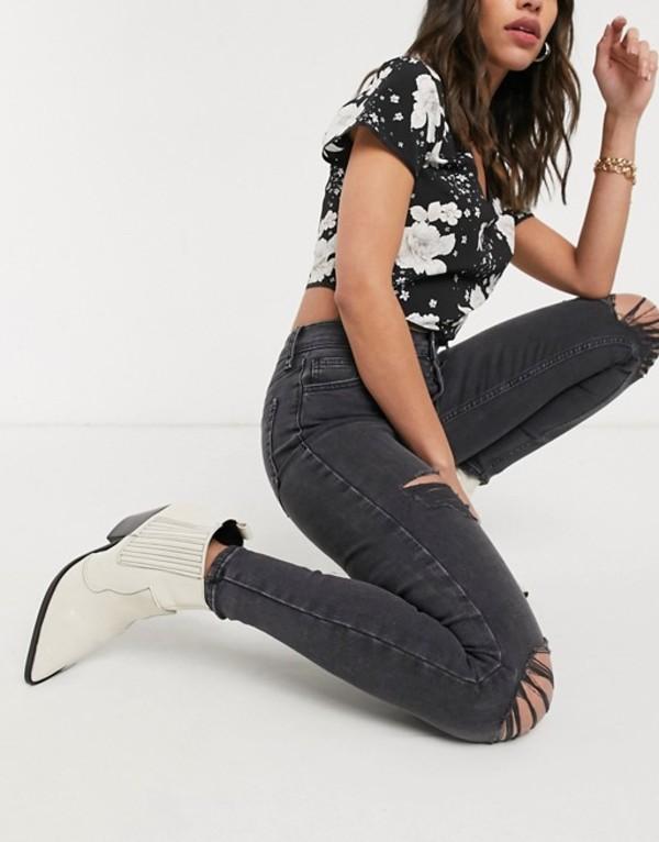 トップショップ レディース デニムパンツ ボトムス Topshop super rip jamie jeans in washed black Black